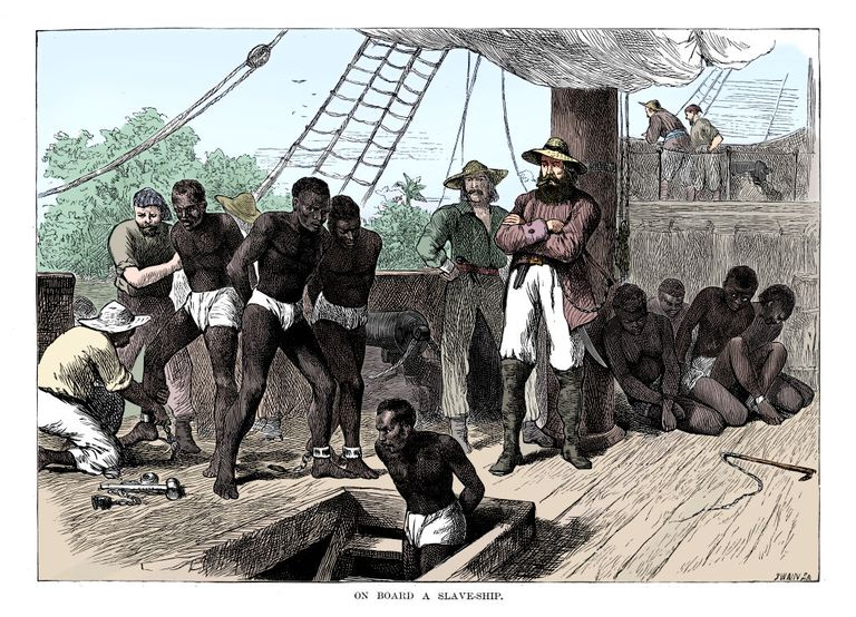 Captives-being-brought-on-board-a-slave-ship-on-the-west-coast-of-africa--slave-coast-